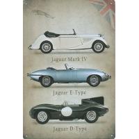 Tábla Jaguar autós Mark IV, E-Type és D-Type erősített oldalú fémtábla